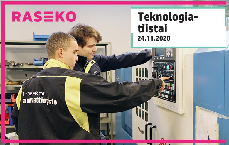 Teknologiatiistain mainos, nuoret miehet koneistamossa työtakit päällään.