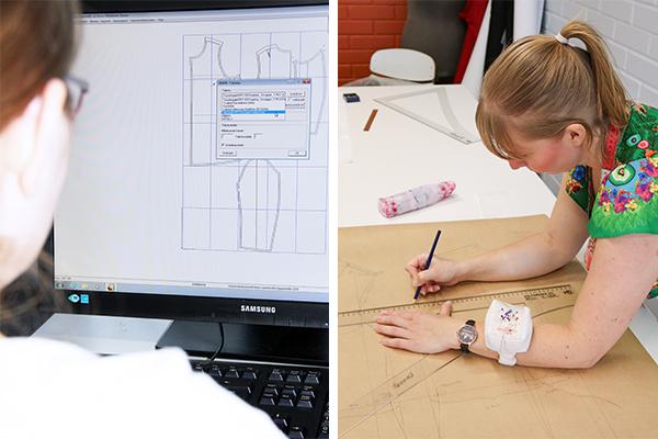 Kaksi kuvaa samassa. Ensimmäisessä kuvassa opiskelija käyttää tietokoneella digitaalista kaavoitusjärjestelmä Grafista ja toisessa kuvassa toinen opiskelija piirtää kaavoja käsin kaavoituspaperille.