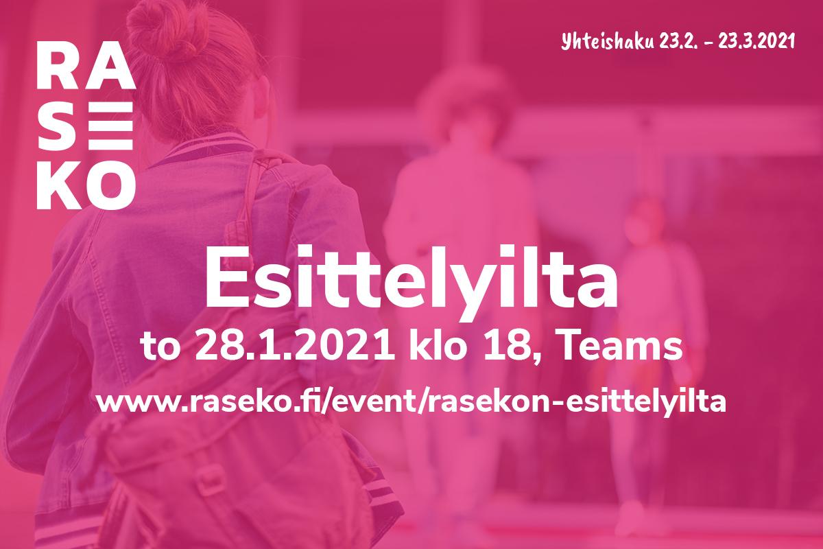 Mainos. Kuvituskuva, päällä teksti Esittelyilta to 28.1.2021 klo 18, Teams.