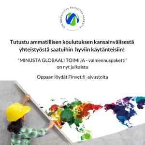 Global VET-hankkeen mainos, henkilö värikkään maailman kartan ääressä.