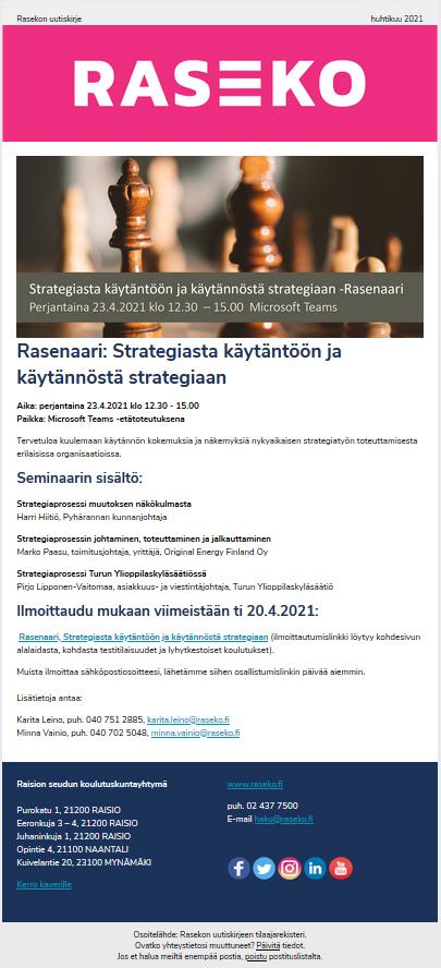 Kuvankaappaus huhtikuun RasekoNews-uutiskirjeestä.